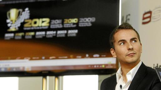 El piloto mallorquín Jorge Lorenzo (Yamaha), ayer, en una imagen captada durante la presentación de su nueva página web oficial, en Madrid.