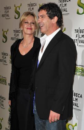 La actriz estadounidense Melanie Griffin y su esposo, el actor español Antonio Banderas.