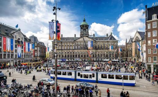 El centro de amsterdam, en Holanda, se prepara para la ceremonia.