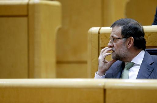 El presidente del Gobierno, Mariano Rajoy, durante la sesión de control al Ejecutivo celebrada esta tarde en el pleno del Senado.