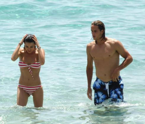 María José Suárez y Feliciano López, durante unas vacaciones en Eivissa.