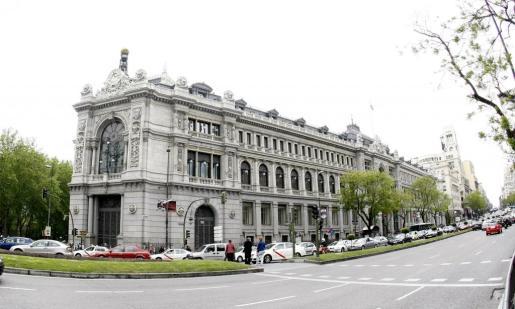 Vista de la fachada del Banco de España, en Madrid.