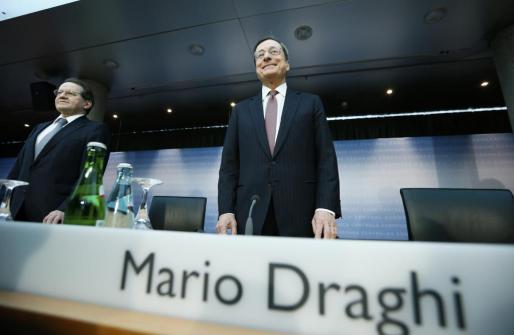 El presidente del BCE, Mario Draghi, durante la rueda de prensa ofrecida hoy.
