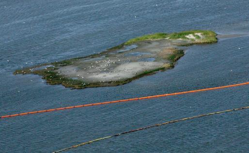 Barreras de protección instaladas alrededor de una pequeña isla en Port East, Luisiana, para evitar el embate de las manchas de crudo.