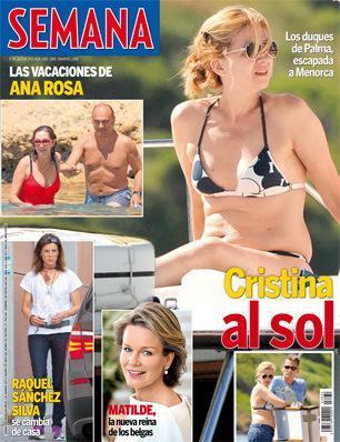 Portada de la revista 'Semana' en la que se ve a Cristina de Borbón tomando el sol en la cubierta de un llaüt en Menorca