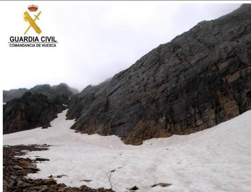 Imagen de la zona donde tuvo lugar el rescate, según una imagen facilitada por la Guardia Civil y recogida por El Periódico de Aragón.