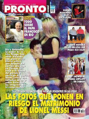 Messi, 'cazado' en la portada de la revista argentina 'Pronto'.