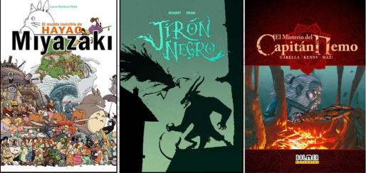 Portadas de tres de las cuatro publicaciones de Dolmen finalistas a los Premios de la Crítica.