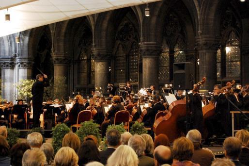 Unas seiscientas personas presenciaron el recital de la Orquestra Simfònica de Balears en Viena. En la imagen, instante de la actuación.