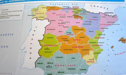 Descripción de España en un mapa en inglés.