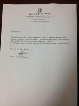 González ha enviado una carta a los inspectores educativos informando de su renuncia.