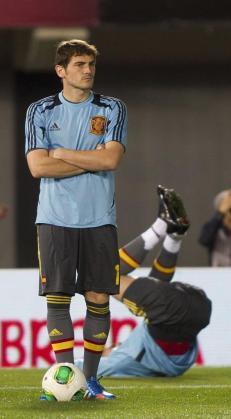 Iker Casillas, durante el partido que la Selección disputó en Mallorca.