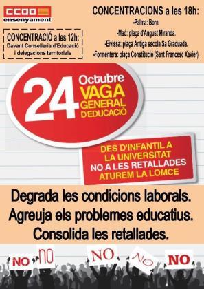 Cartel de CCOO sobre la huelga del 24 de octubre en contra de la LOMCE.