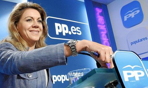 La secretaria general del Partido Popular, María Dolores de Cospedal, ayer en Madrid.