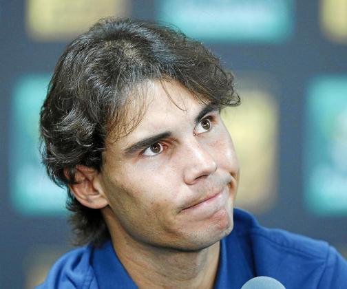 El tenista mallorquín Rafael Nadal, ayer, durante la rueda de prensa ofrecida antes de estrenarse en París-Bercy.