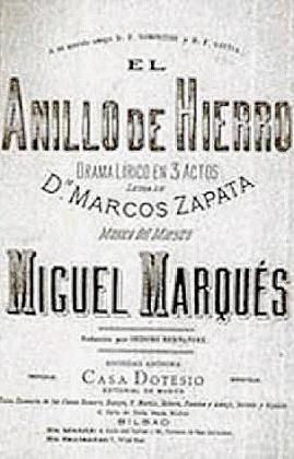 Portada de la edición original de 'El anillo de hierro' y el director de orquesta Luis Remartínez.