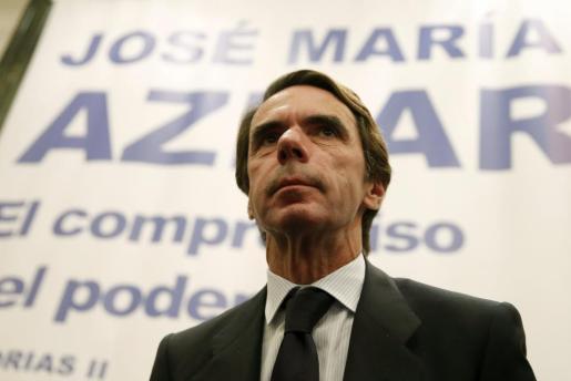 """El expresidente del Gobierno José María Aznar durante la presentación de la segunda parte de sus memorias bajo el título """"El compromiso del poder""""."""