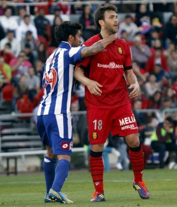Víctor Casadesús y Silvo, durante un partido entre el Mallorca y el Deportivo la pasada temporada..