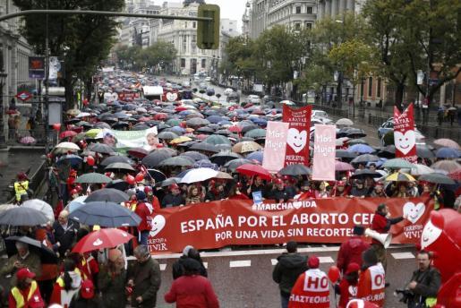 Momento de la manifestación de Madrid de la IV Marcha por la Vida, organizada en las principales ciudades de España por la plataforma Derecho a Vivir.