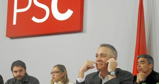El primer secretario del PSC, Pere Navarro, durante la reunión extraordinaria del Consell Nacional del PSC.