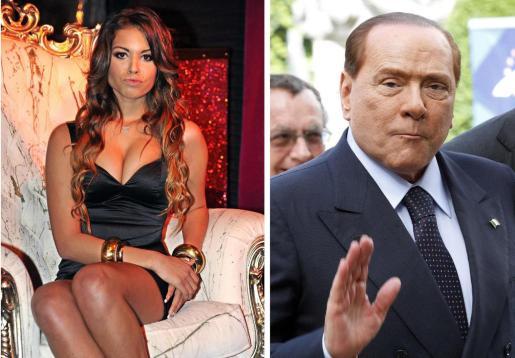 La joven marroquí Karima El Marough, conocida como Ruby (iz.), y el ex primer ministro italiano, Silvio Berlusconi.