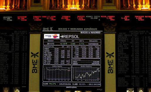 Las acciones de Repsol fueron la estrella en la sesión de ayer en la Bolsa de Madrid.