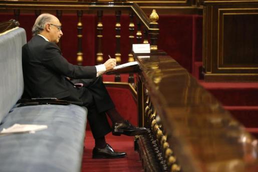El ministro de Hacienda y Administraciones Públicas, Cristóbal Montoro, durante la sesión de la Comisión General de las Comunidades Autónomas del Senado.