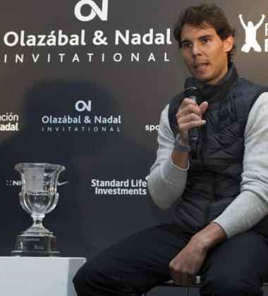 El tenista, Rafael Nadal, durante la rueda de prensa en la que ha presentado el trofeo Olazabal y Nadal Invitational, que se celebra este fin de semana en el Pula Golf de Son Servera.
