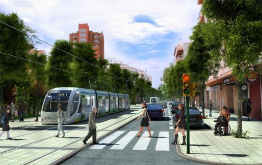 Imagen virtual del tranvía a su paso por la Avenida México y la calle Pérez Galdos