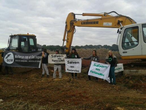 Miembros del GOB intentan paralizar las obras en Ses Fontenelles esta mañana.