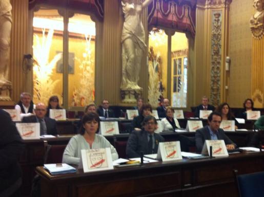 Los diputados socialistas han mostrado su disconformidad con la Llei de Símbols exhibiendo un dibujo que representa el no a la libertad de expresión.