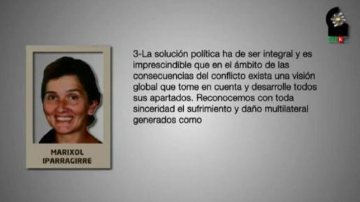 Imagen capturada del vídeo difundido por la página web Naiz.info.es del denominado colectivo de reclusos de ETA (EPPK).