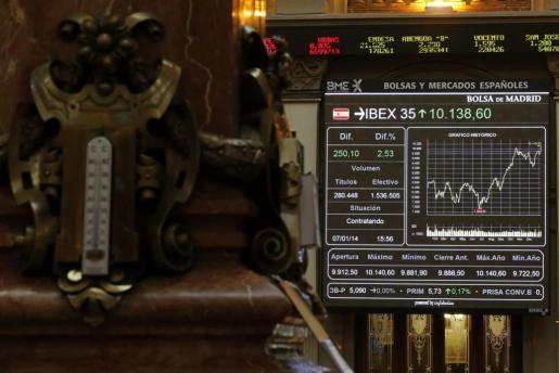 Panel informativo de la Bolsa de Madrid con la evolución del IBEX 35 durante la sesión de hoy.