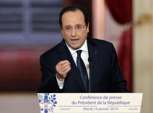 El presidente francés, François Hollande, durante su comparecencia ante la prensa.