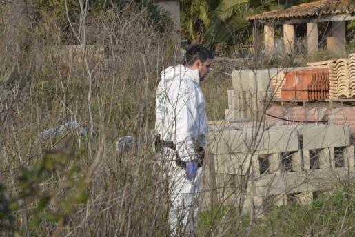 Un agente, inspeccionando la finca de sa Porrassa.