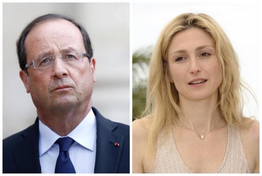 Combo de fotografías del presidente francés, François Hollande (i), en París (Francia) el 18 de agosto de 2013, y de la actriz francesa Julie Gayet.