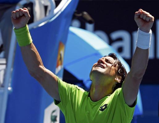 David Ferrer, celebrando su pase a octavos de final en el Open de Australia 2014.