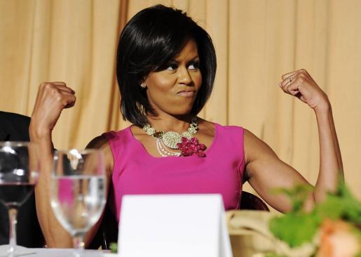 La primera dana de Estados Unidos, Michelle Obama, durante una comida en Washington.