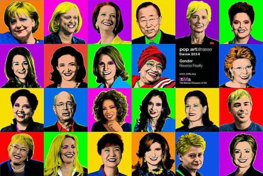 """GRA291. DAVOS (SUIZA), 22/01/2014.- Fotografía del mural titulado """"Davos 2014: Brecha de género. Realidad al revés"""", publicado por el Museo de Arte Itinerante ItiMa con motivo de la celebración del Foro de Davos hasta el 25 de enero, en el que se ven a algunas de las principales mandatarias políticas y económicas del mundo y que, en clave de arte pop, imagina un mundo en el que las mujeres líderes superan a los hombres. """"Este collage muestra que en el Foro Económico Mundial del 2014 solamente hay una mujer"""