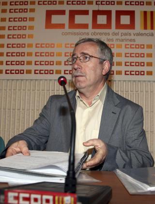 El secretario general de CCOO, Ignacio Fernández Toxo, durante la rueda de prensa que ha ofrecido hoy.