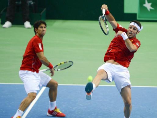 Fernando Verdasco y David Marrero, durante el partido de dobles ante Alemania.