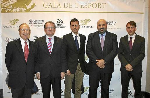 Fernando Alzamora, Joan Rotger, Javier Morente, Jaime Martínez y Juan Carlos Ramonell, momentos antes de comenzar la Gala.