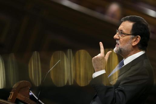 El presidente del Gobierno, Mariano Rajoy, durante su intervención en la segunda jornada del debate sobre el estado de la nación, hoy en el Congreso de los Diputados.
