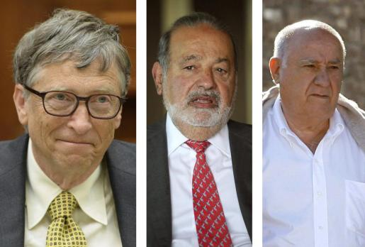 Combo de fotografías de archivo de Bill Gates (i), confundador de Microsoft y el hombre más rico del mundo; del inversor mexicano Carlos Slim (c), segundo en la lista, y del español Amancio Ortega, número tres de la lista y fundador del imperio textil Inditex, que en 2013 vio como su fortuna aumentaba en 8.900 millones de dólares hasta totalizar 66.400 millones.