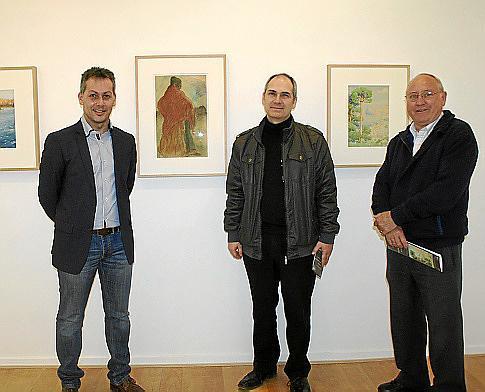 Xisco Mulet, Carlos Bonnín y Joan Coll, padre del comisario de la exposición.