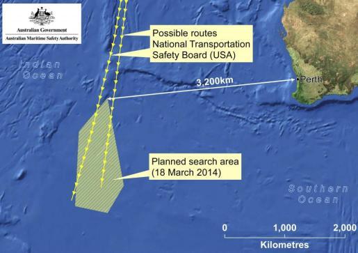 Pulsa sobre la imagen para ampliar la imagen facilitada por la Autoridad Australiana de Seguridad Marítima (AMSA) que muestra el área de búsqueda del avión de Malaysia Airlines desaparecido.