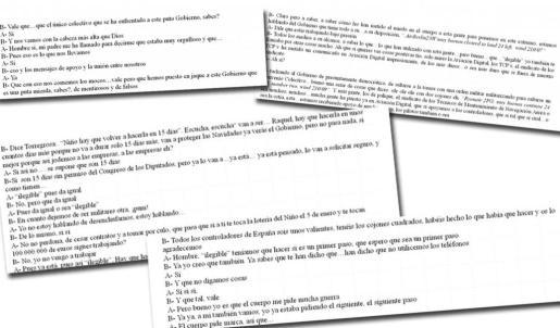 Reproducción de algunos de los diálogos de los controladores aéreos en la torre de control de Palma.