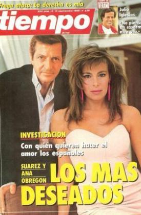 Ana Obregón ha tuiteado una antigua portada de la revista Tiempo en la que aparece con Adolfo Suárez.