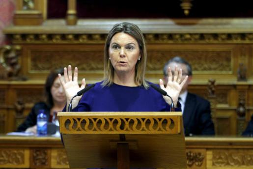 Maria Salom, durante su discurso de esta mañana.
