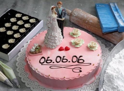 Imagen de archivo de una tarta nupcial.